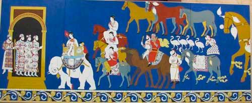 Реставрация фресок в музее Афросиаб